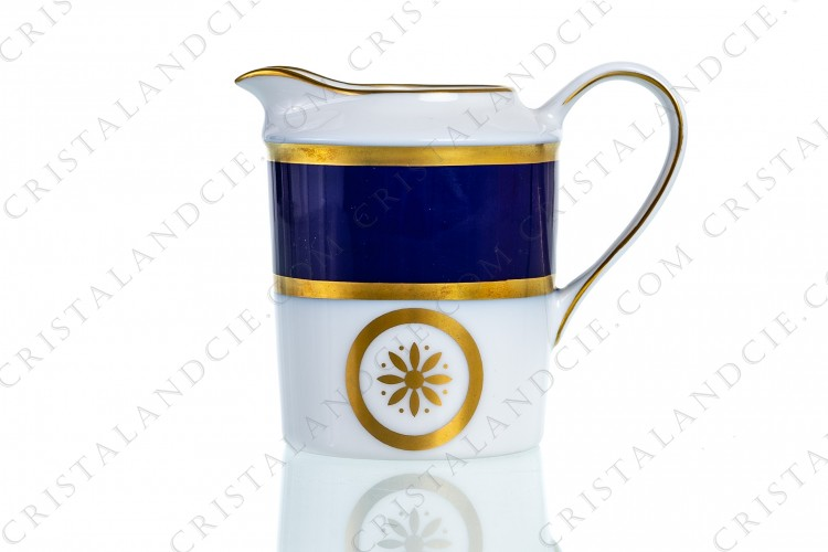 Creamer in Limoges china by Bernardaud pattern Sparte cobalt blue decorated with a cobalt blue stripe and gold borders and flowers