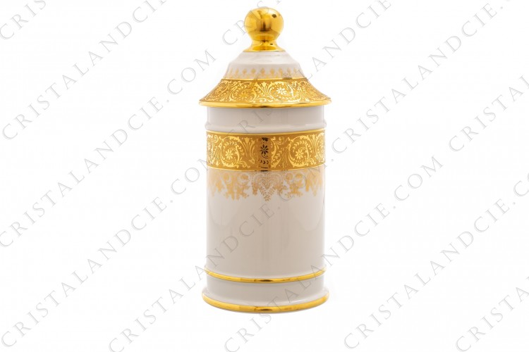 Pharmacy jar in china of Limoges decorated by Carpenet with friezes of arabesques in gold inlays