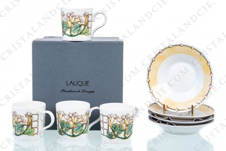 Four coffee cups Perles by Lalique