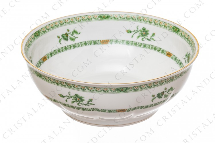 Salad bowl in Limoges china by Haviland pattern Arbre vert shape Lutece decorated with green and brown vegetables friezes and flowers and with a gold border photo-1