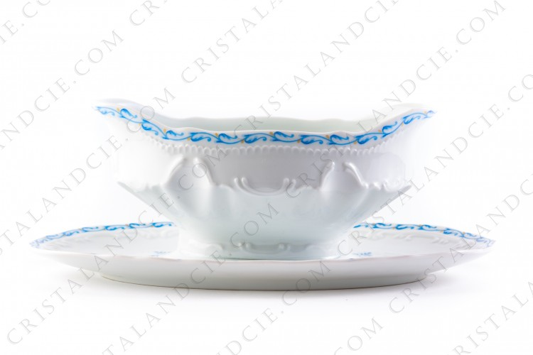 Gravy boat blue flowers by the Ancienne Manufacture Royale