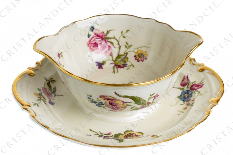 Gravy boat in china of Limoges by Bernardaud shape Régence decorated with polychromes flowers photo-1