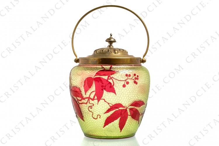 Art Nouveau cookie jar in yellow and red double layer crystal by Baccarat decorated with red virginia creeper on a engraved with the acid yellow honey comb background photo-1