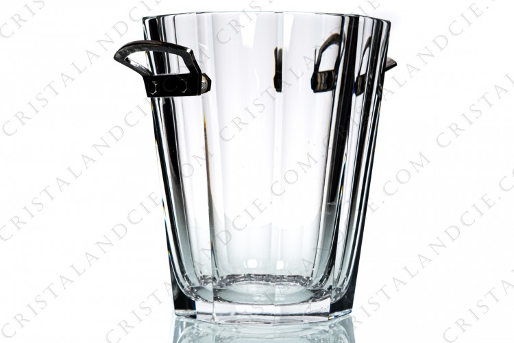 Champagne bucket in crystal by Baccarat pattern Maxime decorated with flat cut and with handles in plated silver