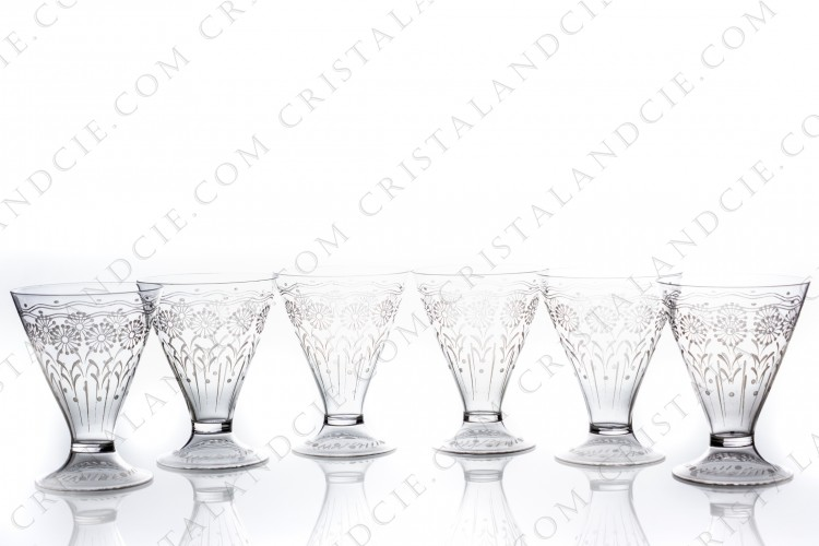 Set of six watergoblets in crystal by Baccarat shape 11965, matt engraved 12117, with an engraved pattern of flowers and a hollow foot