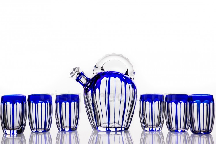 Cordial set in blue double layer crystal by Saint-Louis