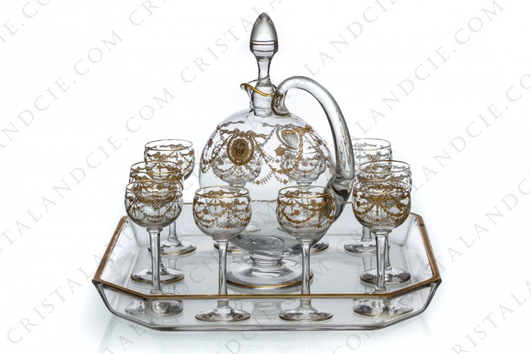 Cordial set in crystal by Saint-Louis pattern Congress decorated with gold inlays photo-1