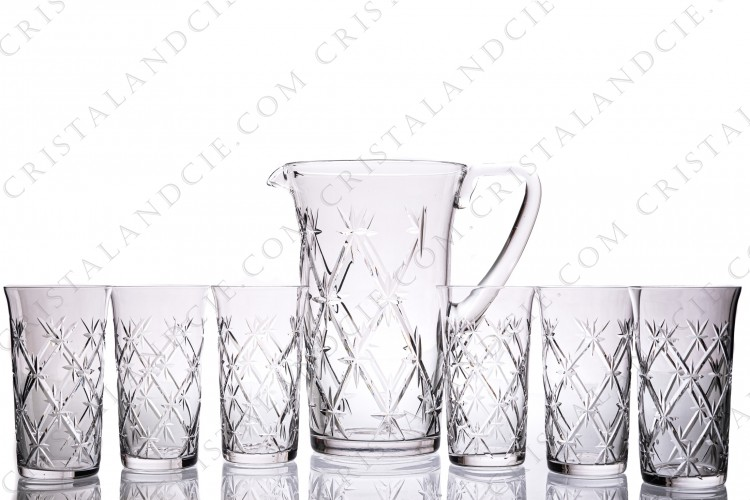 Orangeade set in crystal by Saint-Louis pattern Massenet with a cut pattern of stars photo-1