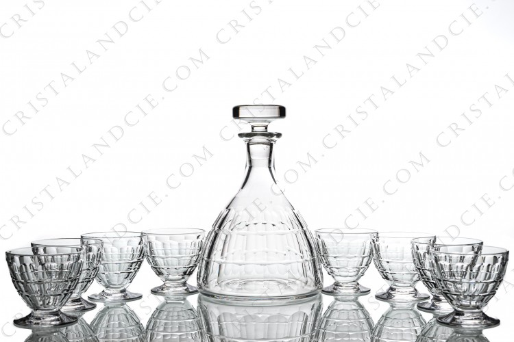 Sherry set in crystal by Baccarat pattern Charmes with a cut pattern photo-1