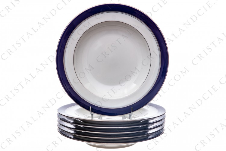 Set of six soup plates in Limoges china by Bernardaud pattern platinum Pavie, decorated with cobalt blue and platinum borders