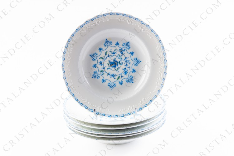 Six soup plates blue flowers by the Ancienne Manufacture Royale
