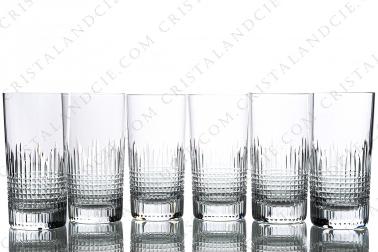 Set of six highballs in crystal by Baccarat pattern Nancy with an important cut pattern of grid