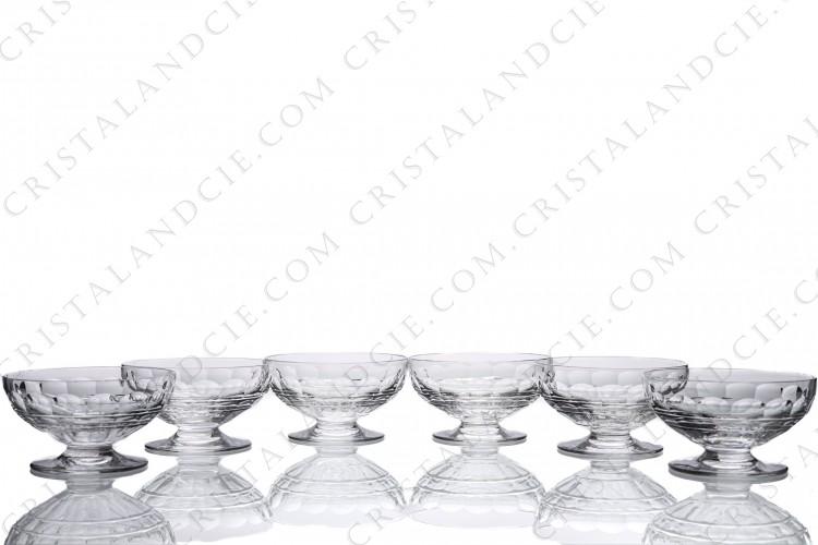 Set of six Champagne saucers in crystal by Baccarat pattern Charmes with a cut pattern on the gob