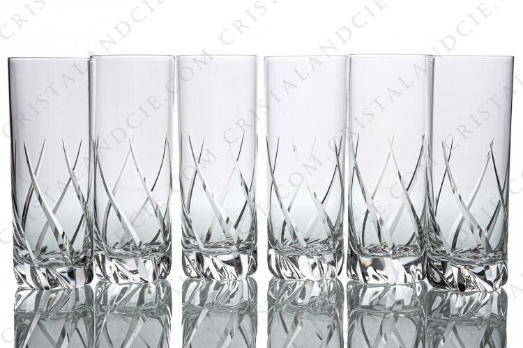 Set of six Champagne flutes in crystal by Daum pattern Bleneau with a cut pattern