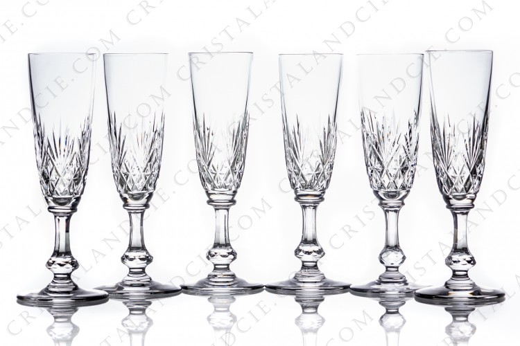 Six Champagne flutes Massenet by Saint-Louis