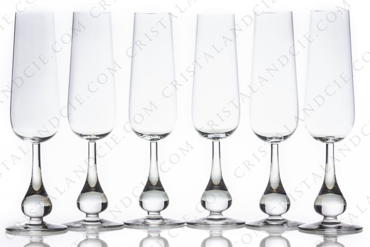 Six Champagne flutes Pavot by Baccarat