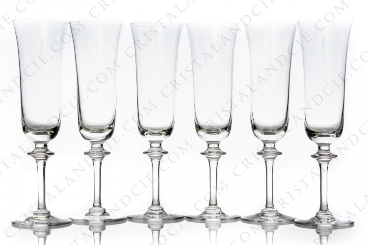 Set of six Champagne flutes in crystal by Daum pattern Saumur decorated with a ring on the stem