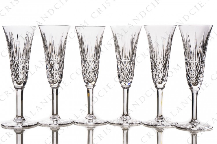 Six Champagne flutes Tarn by Saint-Louis