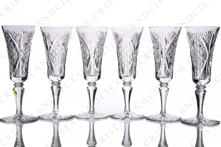 Six Champagne flutes Vologne by Saint-Louis