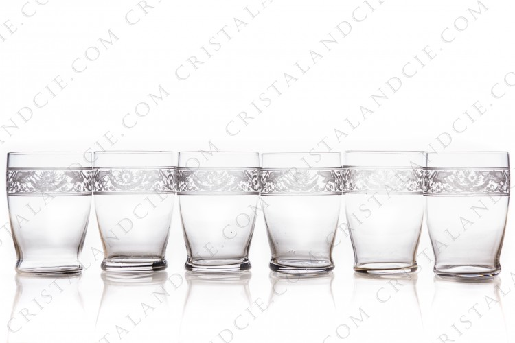 Set of six tumblers in crystal by Baccarat pattern Cygne Empire decorated with an acid engraved frieze, with amphoras, crown of laurels and swans on flowered arabesques