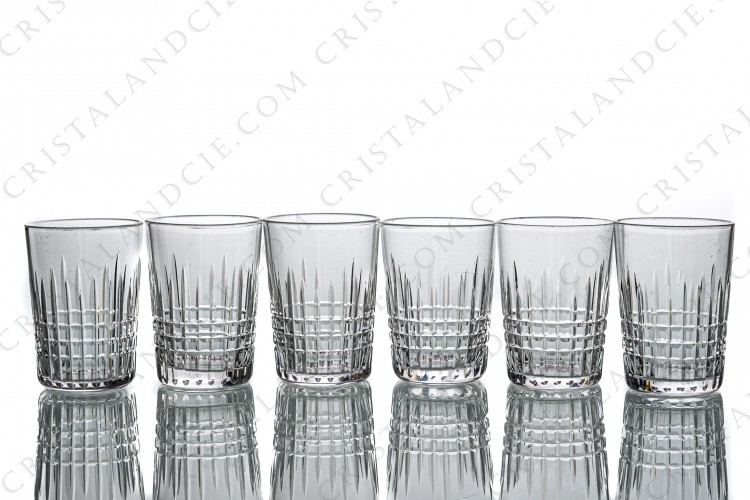 Set of six tumblers in crystal by Baccarat pattern Nancy with an important cut pattern of grid