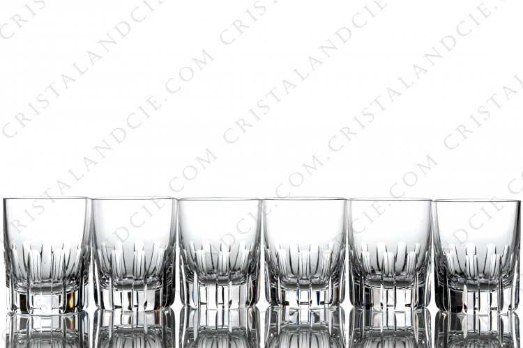 Set of six tumblers in crystal by Baccarat pattern Rotary with a cut pattern