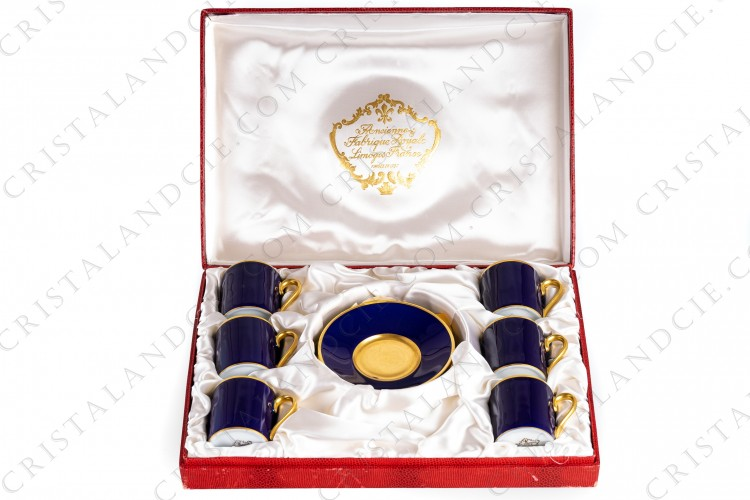 Set of six coffee cups in Limoges china by L Ancienne Manufacture Royale ( Bernardaud), cobalt blue and gold