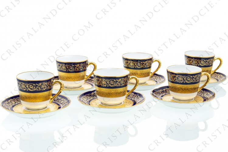 Set of six coffee cups in china of Limoges by Bernardaud pattern Monte Carlo cobalt blue richly decorated with flowered arabesques on a cobalt blue background and gold inlays photo-1