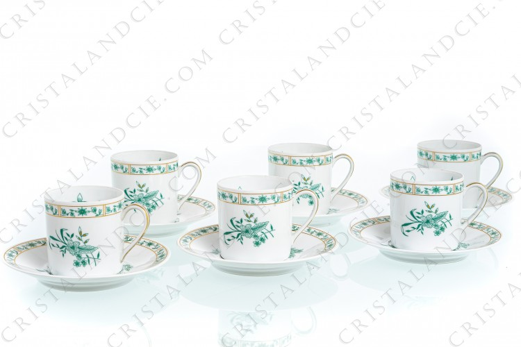 Set of six coffee cups in Limoges china by Bernardaud pattern Pekin decorated with green gold enhanced flowers photo-1
