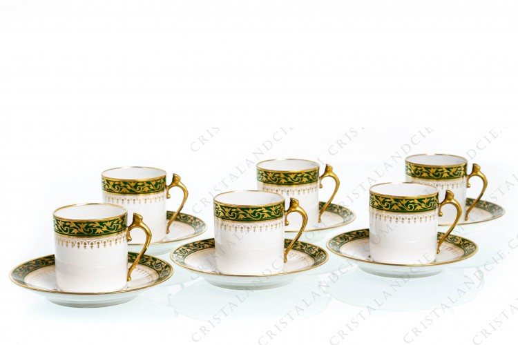 Six green and gold coffee cups by Chabrol and Poirier