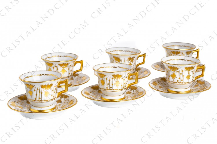 Six moka cups gold flowers Limoges