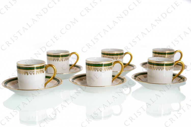Set of six moka cups in china of Limoges decorated with a green stripe and a gold frieze