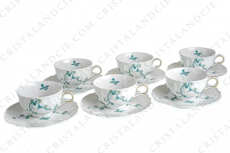 Set of six tea cups in Limoges china by Haviland and Parlon with a blue shades pattern of flowered branches and bird