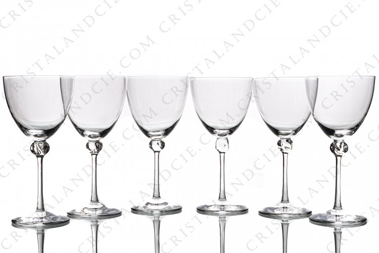 Set of six water glasses n°2 in crystal by Daum pattern Bolero with a twisted ring on the stem photo-1