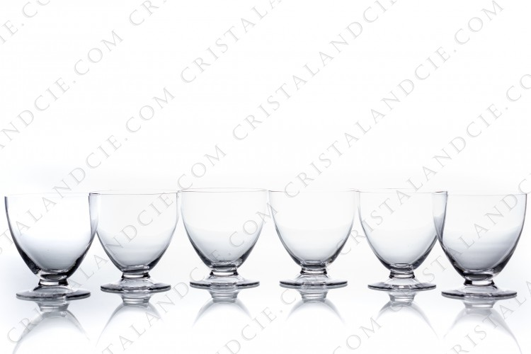 Set of six watergoblets n°2 in crystal by Daum pattern Briançon with a cut and frosted Art Deco pattern on the foot