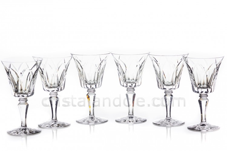 Set of six watergoblets n°2 in crystal by Saint-Louis pattern Camargue with an important cut pattern