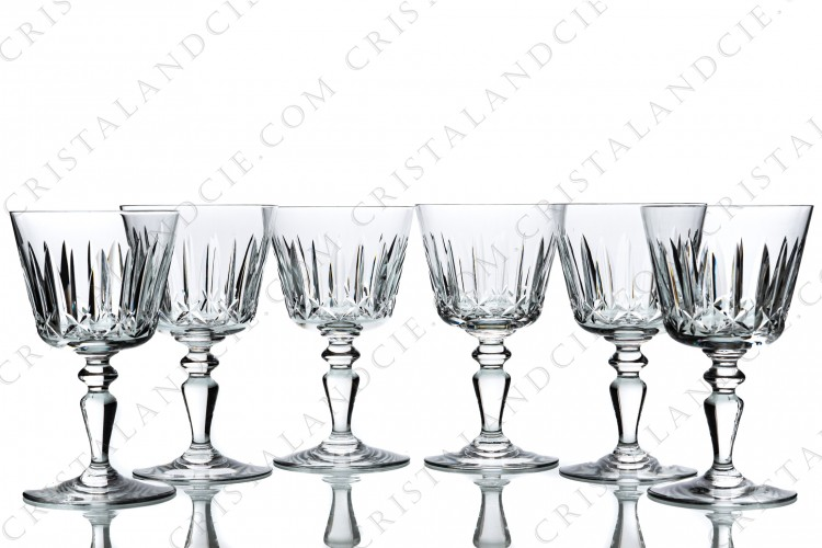 Set of six water glasses n°2 in crystal by Baccarat pattern Ile de France with a cut pattern on the gob