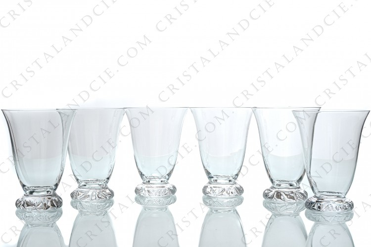 Set of six water glasses n°2 in crystal by Daum pattern Kim