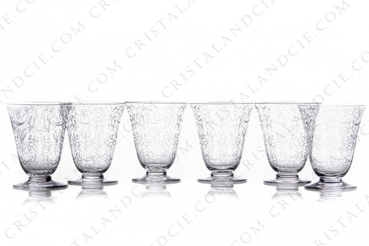 Set of six watergoblets n°2 in crystal by Baccarat pattern Michelangelo with an important engraved pattern