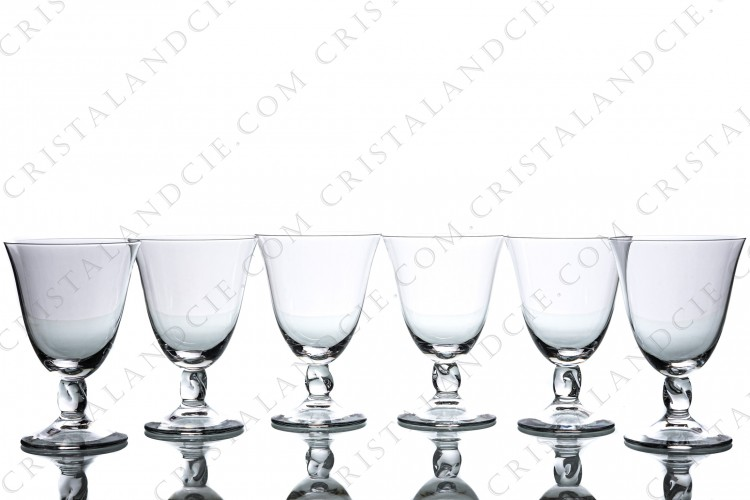 Set of six water glasses n°2 in crystal by Daum collection Orval with a twisted stem