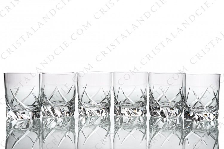Set of six Sherry glasses n°5 in crystal by Daum pattern Bleneau with a cut pattern