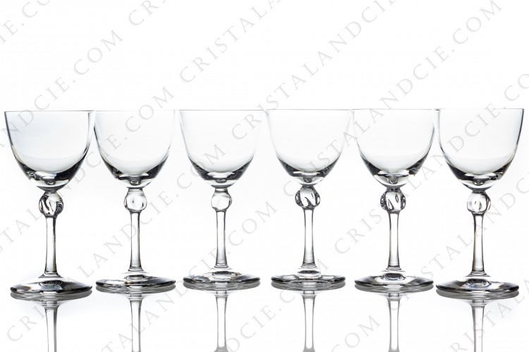 Set of six Sherry glasses n°5 in crystal by Daum pattern Bolero with a twisted ring on the stem