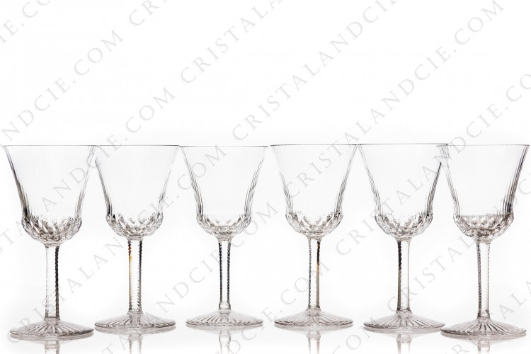 Set of six wine glasses n°3 in crystal by Saint-Louis pattern Apollo with an important cut pattern