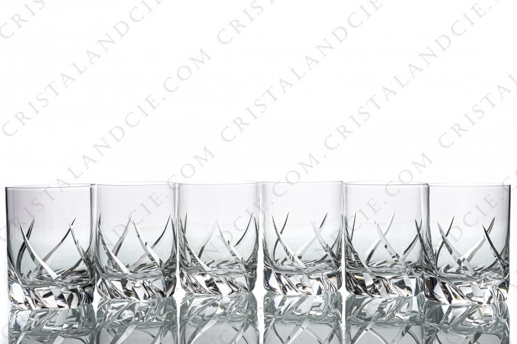 Set of six wine glasses n°3 in crystal by Daum pattern Bleneau with a cut pattern