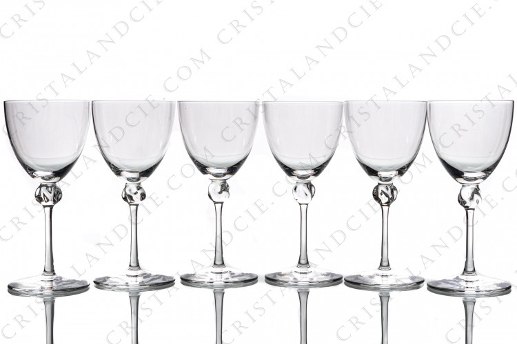 Set of six wine glasses n°4 in crystal by Daum pattern Bolero with a twisted ring on the stem