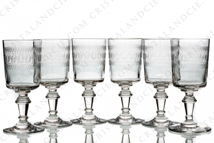 Set of six wine glasses n°4 in crystal by Baccarat cylindrical shape with a carved pattern photo-1