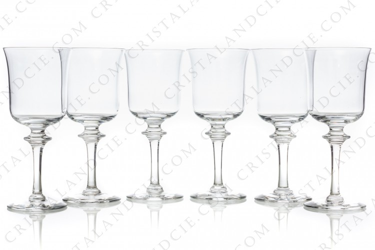 Set of six wine glasses n°3 in crystal by Daum pattern Saumur decorated with a ring on the stem