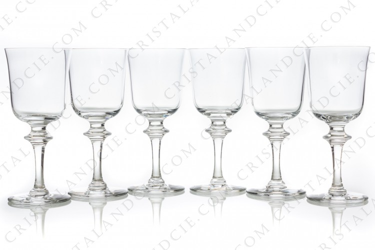Set of six wine glasses n°4 in crystal by Daum pattern Saumur decorated with a ring on the stem