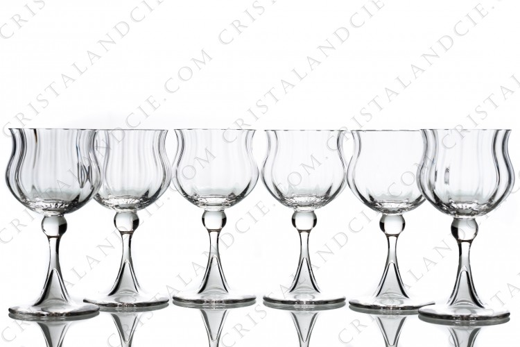 Set of six wine glasses n°3 in crystal by Daum pattern Verone with a parison decorated with venetians cuts, with a hollow foot