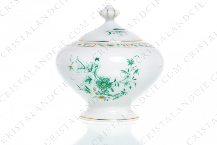 Sugar bowl in Limoges china by Bernardaud pattern Pekin decorated with green gold enhanced flowers